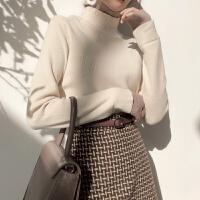 新款简约拼接假两件双层高领宽松气质套头针织衫女装韩版长袖毛衣 均码
