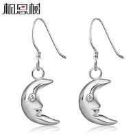 相思树 超显可爱气质 月亮弯弯925纯银耳环韩国版女耳坠时尚饰品EZ026