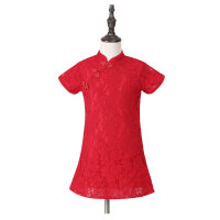 女童旗袍夏新款母女装子短袖蕾丝连衣裙中大童唐装旗袍 中国红 180cm(妈妈款M 建议身高165左右)