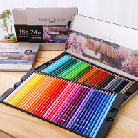 彩铅 油性彩色铅笔铁盒装36色48色72色填色笔2019新款木制绘画素描彩色画笔