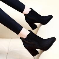 2018秋冬季新款短筒马丁靴潮女短靴高跟粗跟尖头百搭加绒磨砂女靴 黑色