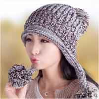 女韩版潮保暖毛线帽时尚针织帽大球球可爱女帽秋冬加绒