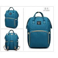 双肩包女韩版多功能母婴包大容量宝妈包布包时尚外出妈妈旅行背包 蓝色 �