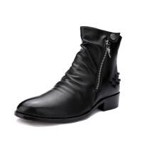 DAZED CONFUSED新款军靴男士尖头皮靴中筒马丁靴男靴子韩版潮流冬季英伦短靴
