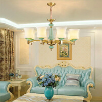 照明新中式中国风全铜吊灯客厅10头8头6头纯铜灯卧室蓝色包间