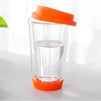 双层玻璃创意带盖水杯 隔热玻璃三色茶杯 玻璃花茶杯 办公室透明水杯耐热 橘色