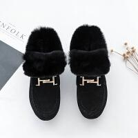 内增高兔毛豆豆鞋女冬季2018新款韩版雪地靴保暖棉鞋加绒毛毛鞋潮