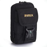 手机腰包男竖款6寸穿皮带腰包迷你多功能钥匙包运动腰带挂包 黑色