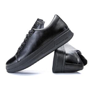 韩版厚底板鞋男秋季皮面百搭低帮鞋增高小白鞋休闲鞋时尚男鞋潮鞋