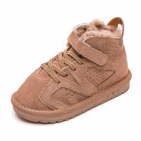 儿童雪地靴真皮男童棉靴皮毛一体2018加绒加厚宝宝棉鞋女保暖短靴