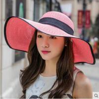 防紫外线太阳帽大檐草帽夏天帽子女沙滩遮阳帽可折叠凉帽户外