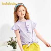 【3件4.5折:40.5】巴拉巴拉女童短袖衬衫夏装童装儿童衬衣中大童洋气百搭女