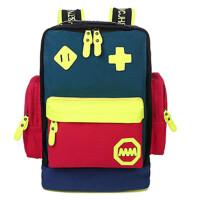 撞色机器人背包放心男女学院风双肩包旅行包帆布学生书包 中