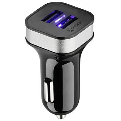 高欣车载充电器G5手机通用3.6A双USB一拖二12V/24V点烟器汽车充拇指般大小,圆方结合造型,机身光滑闪亮