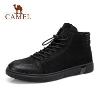 camel骆驼男鞋 秋季新款时尚运动休闲鞋舒适皮质防滑高帮靴子男鞋