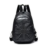 双肩包女韩版方铆钉拼接配背包多用包时尚休闲女包胸包