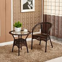 藤椅三件套阳台桌椅户外休闲简约室外藤椅子靠背椅铁艺小茶几 1桌1椅黑咖啡 015型号