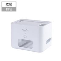 无线路由器收纳盒桌面机顶盒置物架wifi盒子插线板电线整理盒电线收纳盒 双层白色 收纳路由器插线板