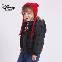 迪士尼宝宝重返学院女童梭织时尚棉服2018冬款上新