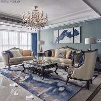 欧式沙发组合 美式轻奢实木沙发 新古典客厅法式简欧皮质别墅家具 组合