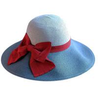 撞色蝴蝶结大沿草帽 旅游度假沙滩帽可折叠遮阳帽女士