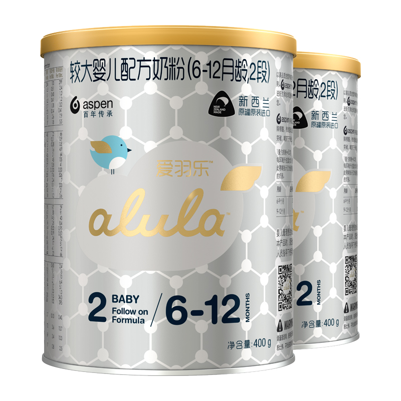 [当当自营]alula爱羽乐2段较大婴儿配方奶粉( 6-12个月)400g*2听量贩装臻粹舒养配方,让宝宝自然舒睡自在成长