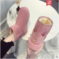 新款网红女鞋冬季韩版原宿百搭短筒加绒雪地靴女平底学生棉鞋