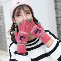 毛线手套女冬季时尚韩版可爱加绒加厚保暖触屏针织手套学生骑车