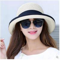 夏季女士出游帽百搭草帽女夏天韩版沙滩帽太阳帽防晒帽大沿遮阳帽
