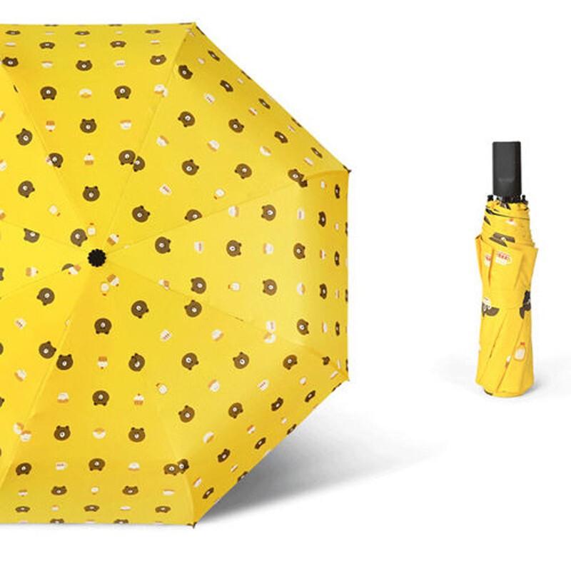 加固九合版布朗熊小清新三折伞 遮阳伞晴雨伞防晒伞防紫外线男女太阳伞折叠伞
