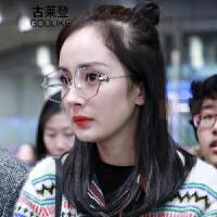 2018新款杨幂同款平光镜不规则八角眼镜框架女网红珍珠鼻托眼镜可配近视镜同款