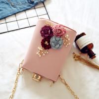 2018时尚韩版潮范链条晚宴包手拿包花朵宴会手提包单肩斜挎女包包