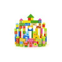 【当当自营】木玩世家 100粒智力运算积木 益智智力数字桶装形状盖配对木制玩具 QJH1105