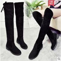 长筒靴女冬过膝女靴子弹力冬季新款平底高筒瘦瘦长靴子女鞋潮