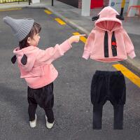 女宝宝金丝绒套装0秋冬装2潮4岁女童洋气卫衣5儿童韩版1小童加绒3