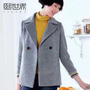 熙世界冬季新款纯色韩版西装领直筒中长款毛呢外套女198SG407