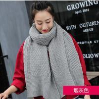 毛线围巾女网红同款时尚加厚保暖针织围脖户外运动新品韩版纯色长款女士围巾