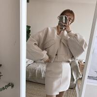 时尚套装女秋季新款立领排扣蝙蝠袖毛呢外套高腰不规则半身裙