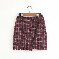 女装秋冬新款红色粗花呢不规则半身裙显瘦包臀短裙子潮