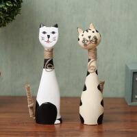 北欧彩绘木质小猫创意情侣猫咪客厅招财摆件家居装饰工艺礼品摆设