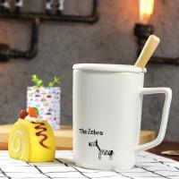 包邮 趣味动物陶瓷杯 卡通创意马克杯 带盖带勺咖啡杯 简约创意水杯