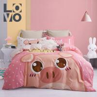 LOVO家纺 全棉卡通三件套四件套 床上用品床单被套
