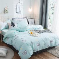 商场同款全棉四件套纯棉被套床单床笠1.8床上用品套件4件套简约床品