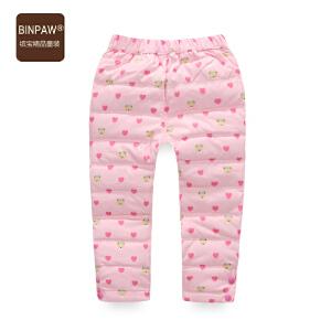 【3件2折价:39元】binpaw童装儿童羽绒裤2016韩版休闲女童90白鸭绒满印羽绒长裤