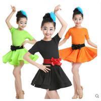 演出服 舞蹈服 拉丁舞裙演出服儿童拉丁舞蹈服短袖练功服女拉丁考级比赛服装