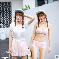 户外泳装女 日系清新显瘦比基尼四件套游泳衣女 新款甜美少女分体泳衣女