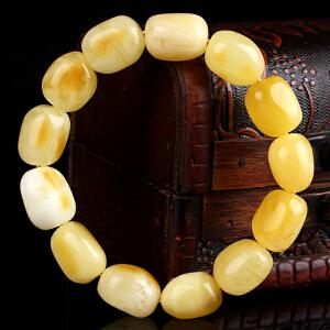 珍稀白蜜蜡随形手串  直径12.5mm