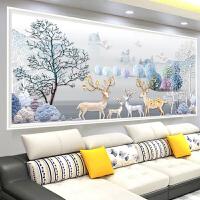 十字绣线绣新款发财麋鹿 客厅 大幅简约现代北欧风景印花满绣