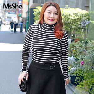 MsShe大码女装2017新款秋装弹力修身高领条纹针织衫毛衣M1740313