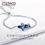 T400采用施华洛世奇元素水晶S925银手链 长度可调日韩时尚 梦呓 3556